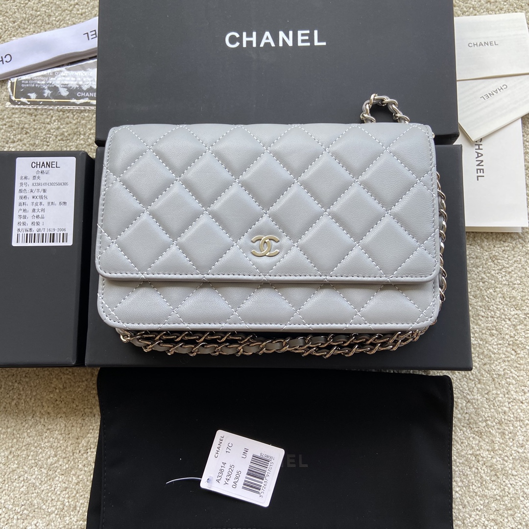 Replica Chanel A33814 Women Classcics Wallet On Chain Light Gray with Sliver