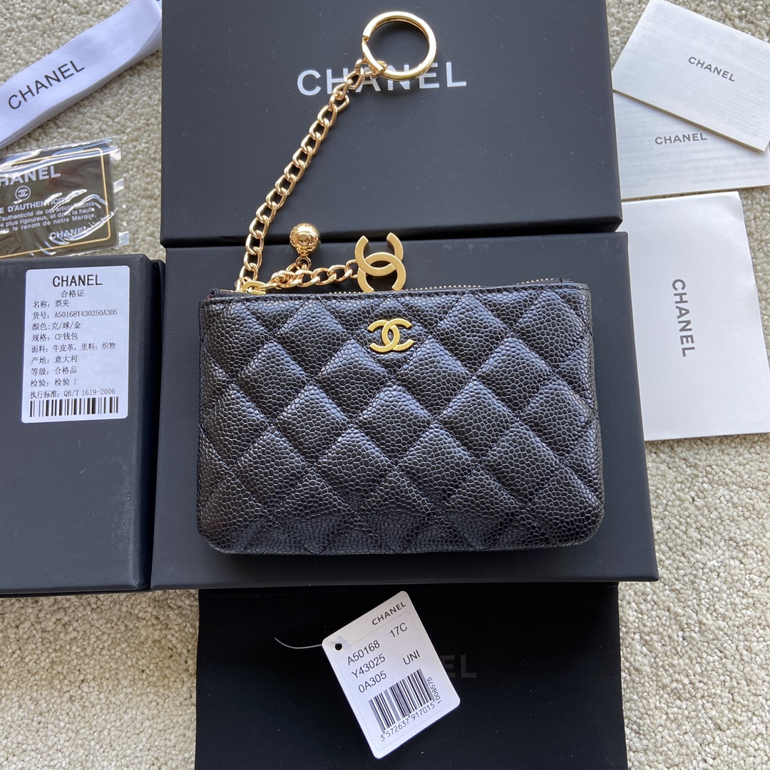Replica Chanel A50168 Matelasse CC Logo Case Coin Purse Black Leather with Gold
