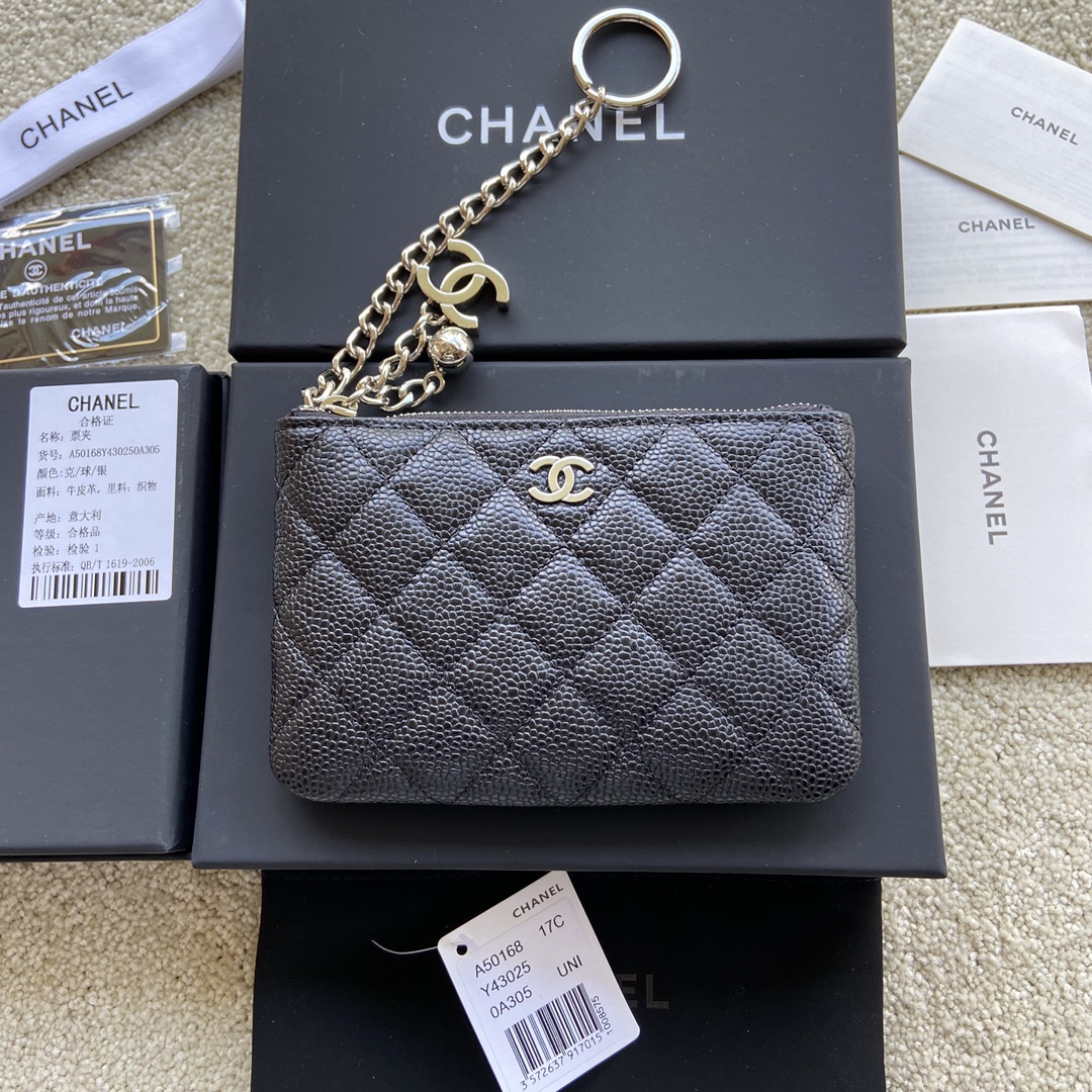 Replica Chanel A50168 Matelasse CC Logo Case Coin Purse Black Leather with Sliver