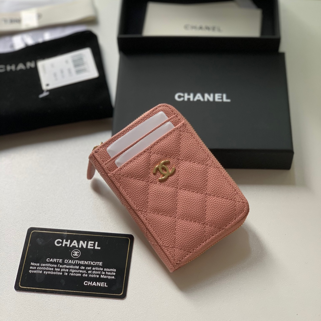 Replica Chanel AP1650 Caviar Leather Coin Wallet Pink