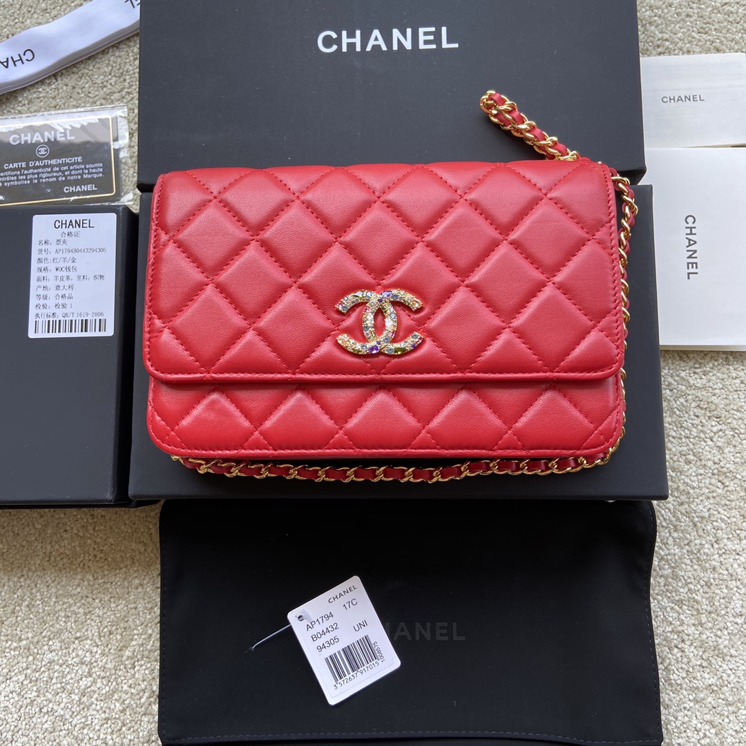 Replica Chanel AP1794 Women Wallet On Chain Red Leather