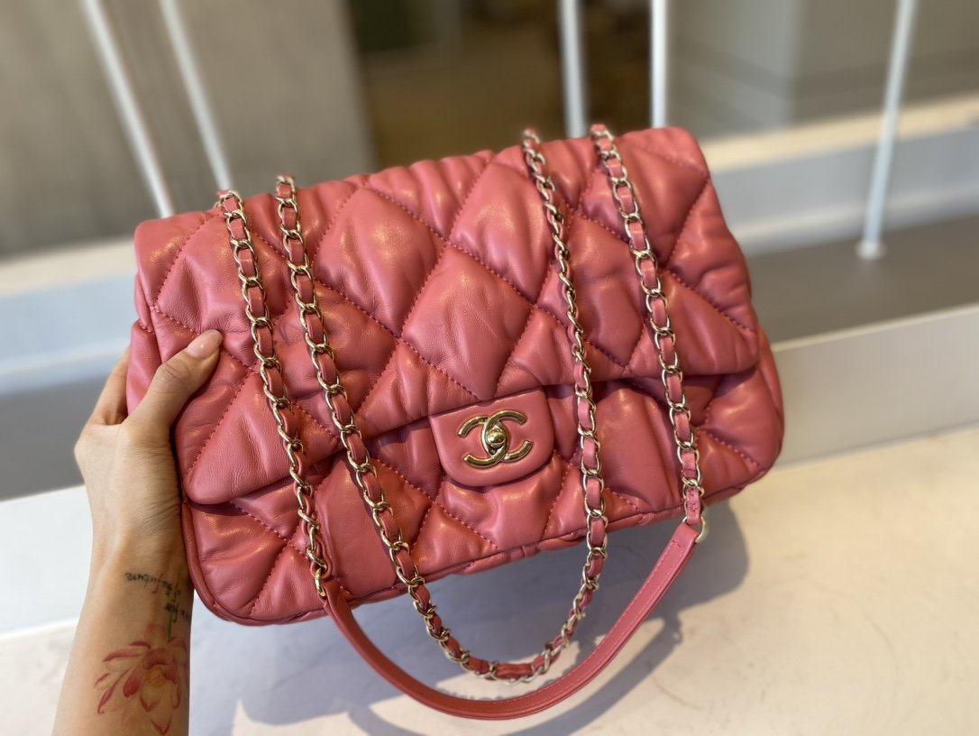 Replica Chanel AS2234 Large Flap Bag Calfskin Gold-Tone Metal Pink 20cm