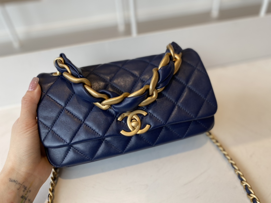 Replica Chanel AS2388 2021 Flap Bag Shiny Lambskin Gold-Tone Metal Blue