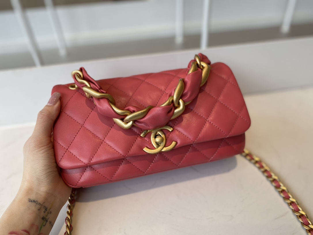 Replica Chanel AS2388 2021 Flap Bag Shiny Lambskin Gold-Tone Metal Rose