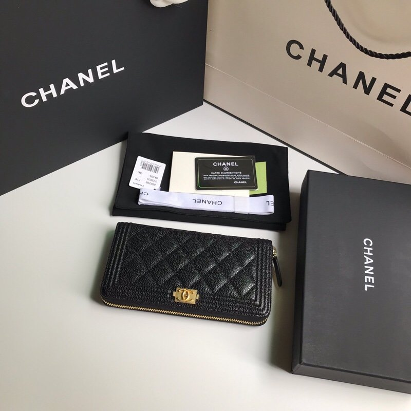 Replica Chanel BOY CHANEL Long Zipped Wallet Grained Calfskin Gold Tone Metal Black