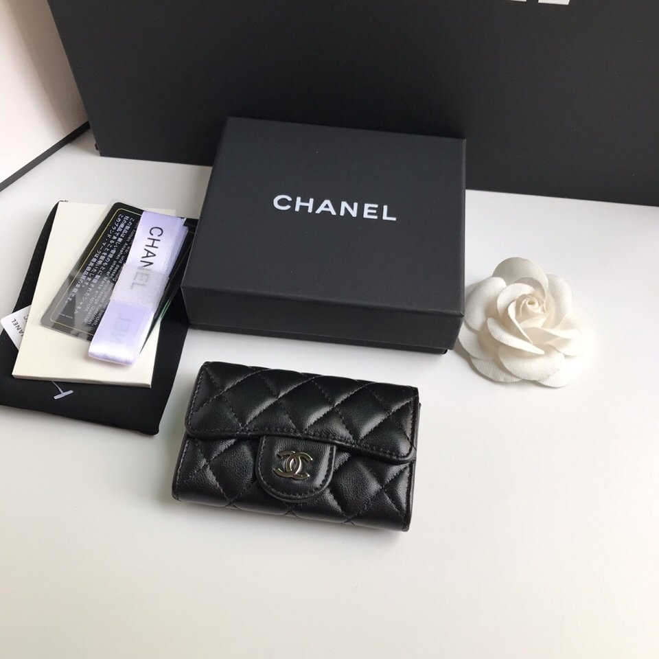 Replica Chanel CF Card Small Wallet Lambskin Silver-Tone Metal Black