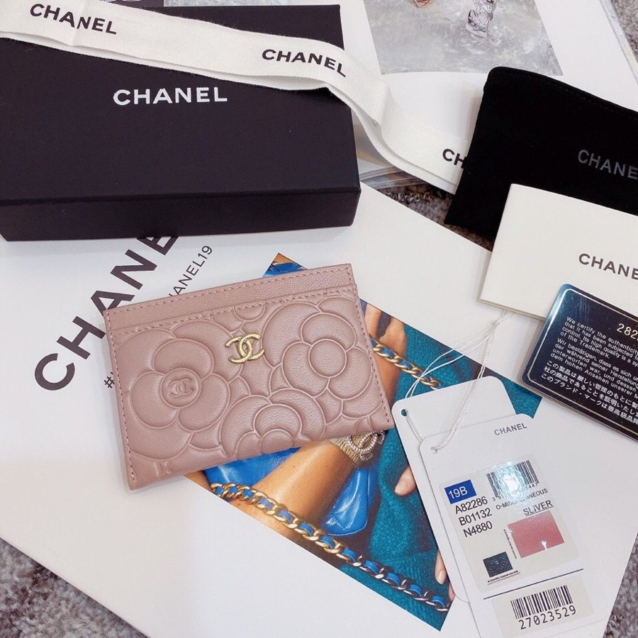 Replica Chanel Card Holder Satin Finish Goatskin Gold Metal Pale Pink