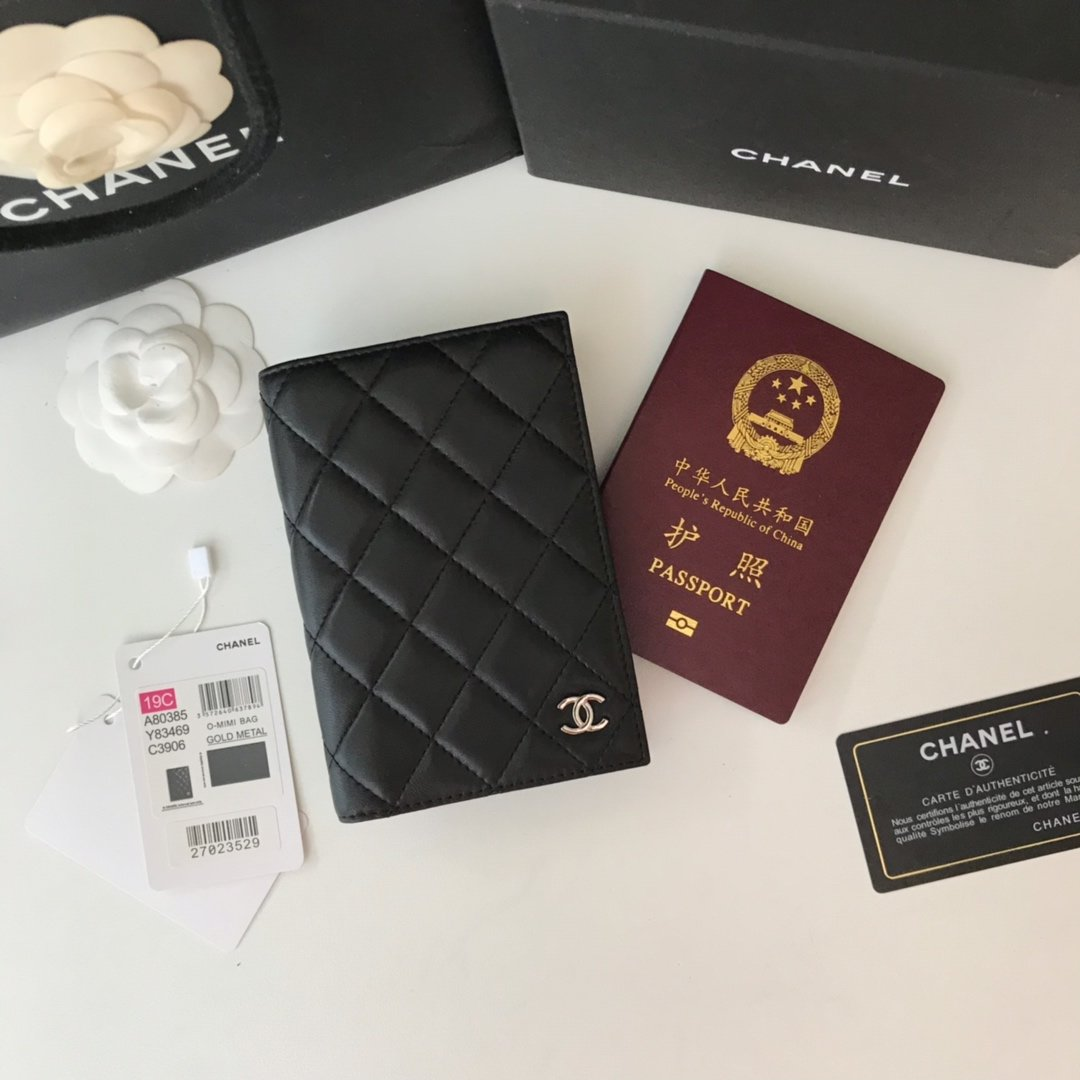 Replica Chanel Classic Passport Holder Features Grained Calfskin Sliver-Tone Metal