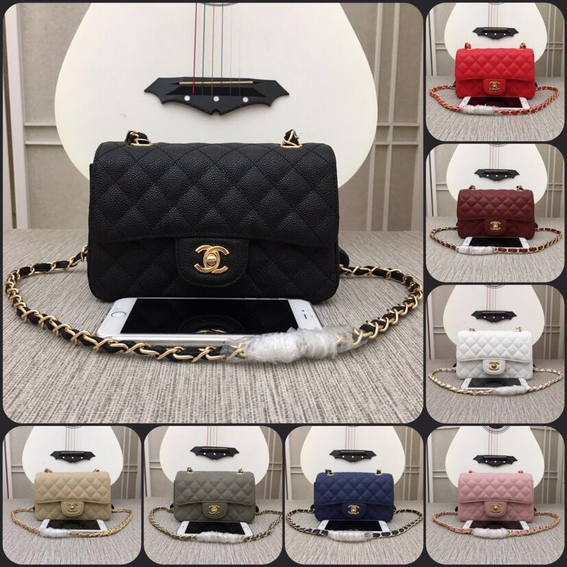 Replica Chanel Classics Handbag Grained Calfskin Gold Tone Metal 8 Colors