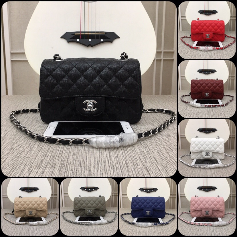 Replica Chanel Classics Handbag Grained Calfskin Silver Tone Metal 8 Colors