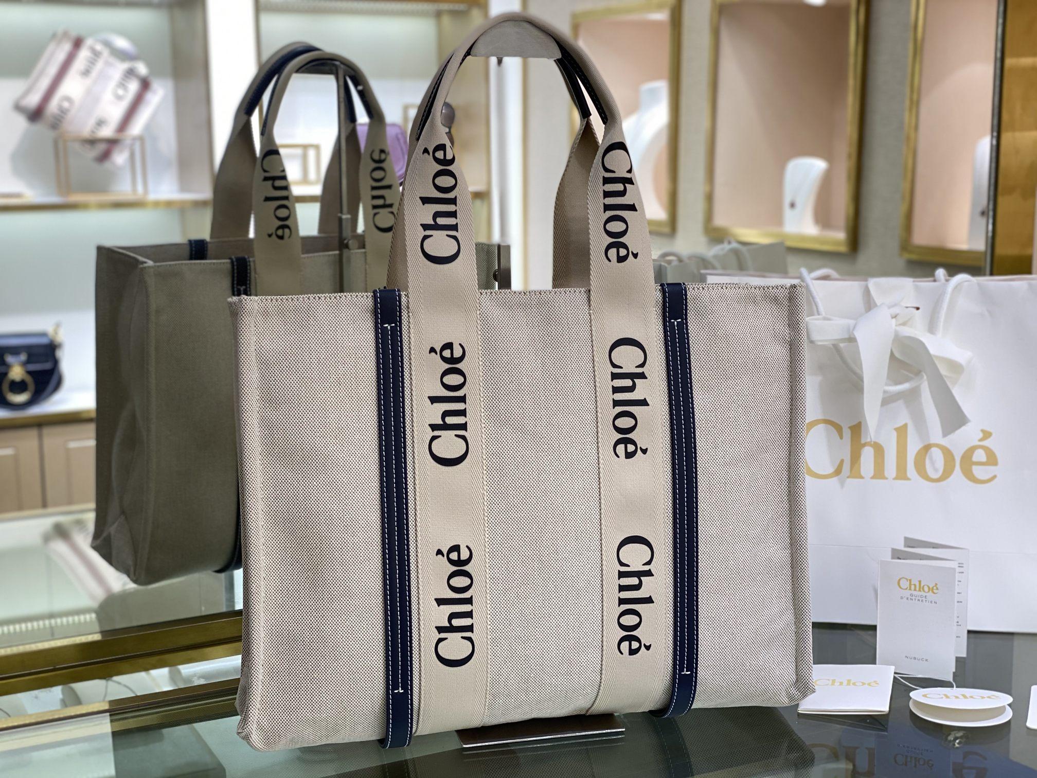 Replica Chloe Large Woody Tote Bag in Cotton Canvas Shiny Calfskin with Woody Ribbon