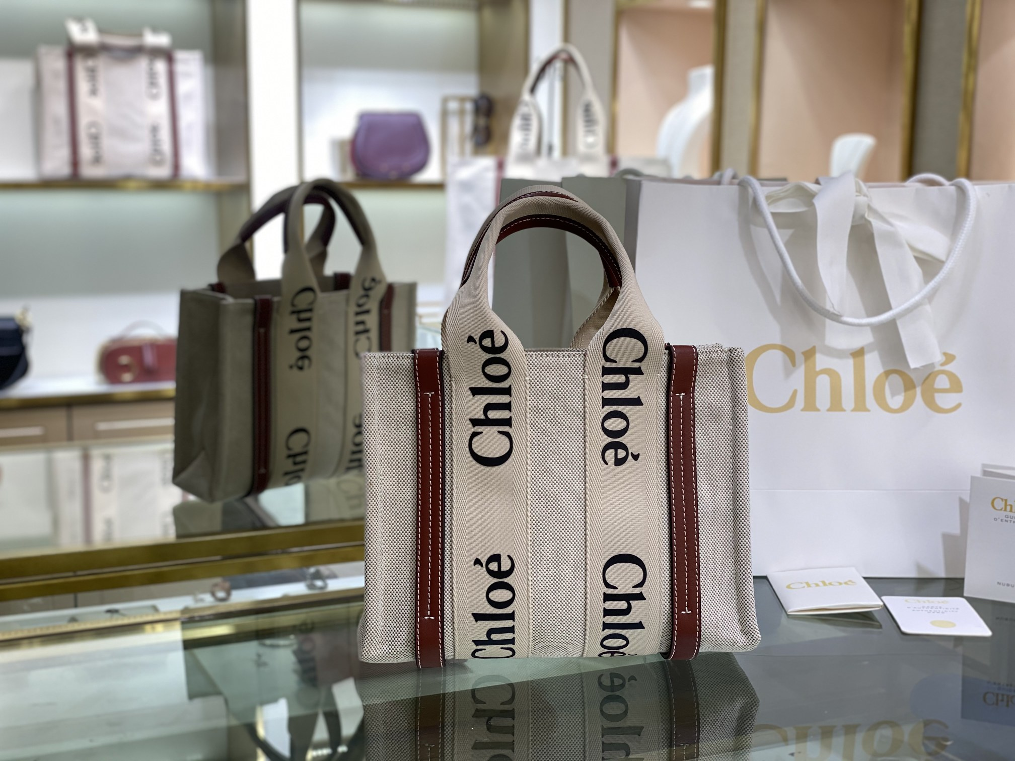 Replica Chloe Small Woody Tote Bag in Cotton Canvas Shiny Calfskin with Woody Ribbon Brown