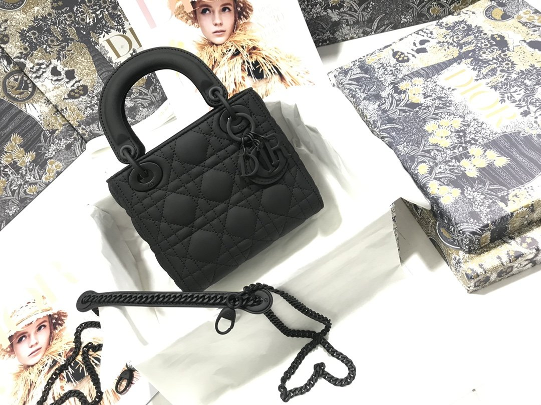 Replica Classic Mini Lady Dior Bag Black Ultramatte Cannage Calfskin