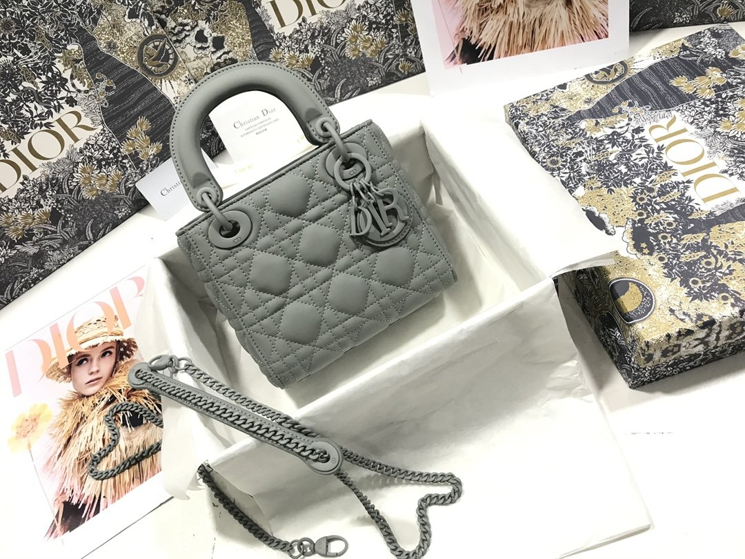 Replica Classic Mini Lady Dior Bag Gray Ultramatte Cannage Calfskin