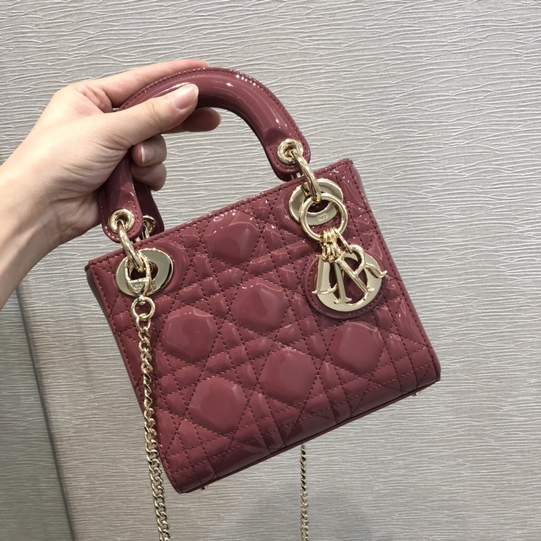 Replica Classic Mini Lady Dior Bag Patent Cannage Calfskin 17cm