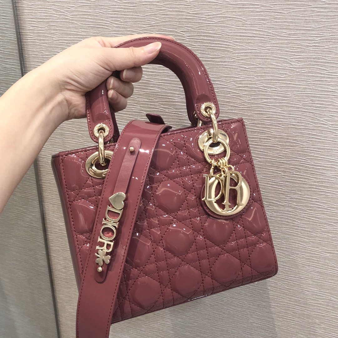 Replica Classic Mini Lady Dior Bag Patent Cannage Calfskin 20cm