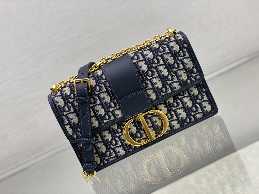 Replica Dior 30 Montaigne Bag Blue Dior Oblique Jacquard
