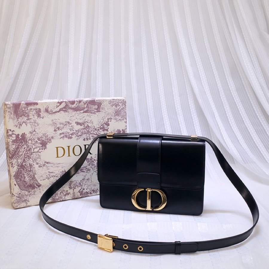 Replica Dior 30 Montaigne Calfskin Bag in Smooth Black Calfskin and CD Clasp