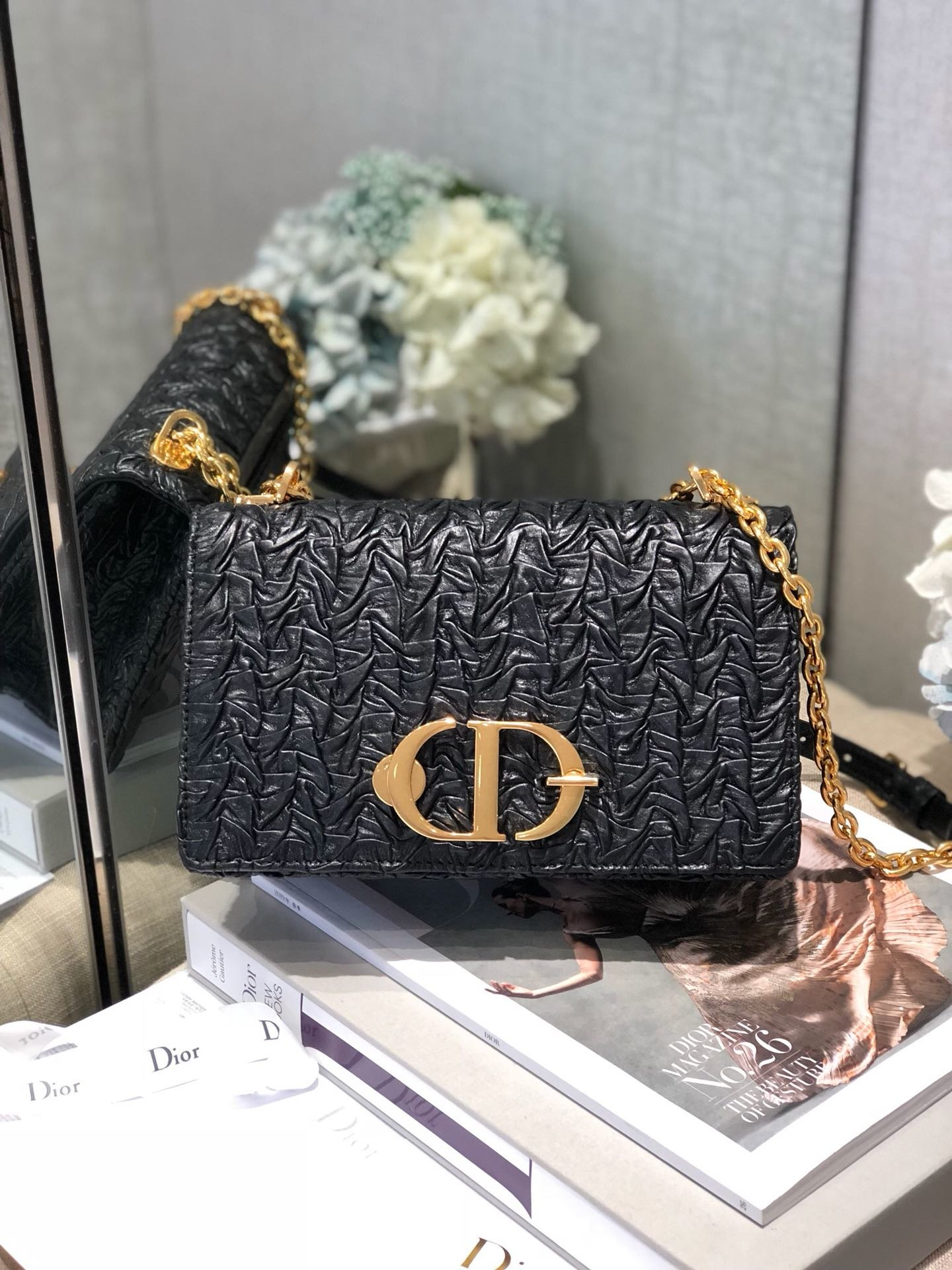 Replica Dior Black 30 Montaigne Wavy Shiny Crinkled Lambskin Flap Chain Bag