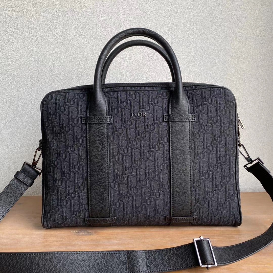 Replica Dior Black Dior Oblique Jacquard Briefcase