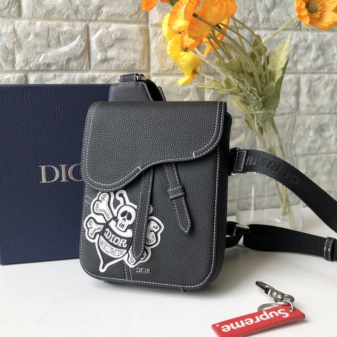 Replica Dior Black Shawn Stussy Saddle Bag Grained Calfskin