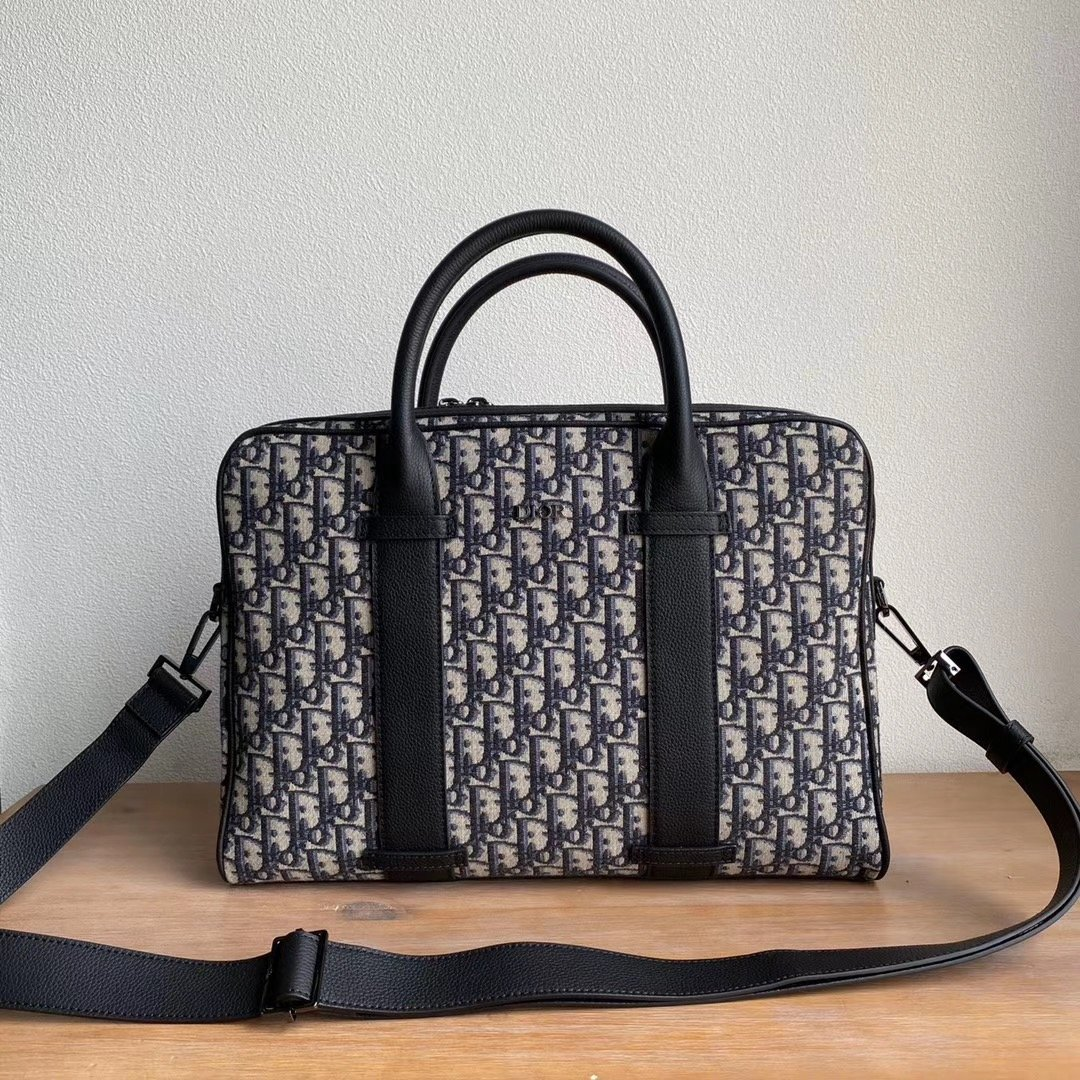 Replica Dior Blue Dior Oblique Jacquard Briefcase