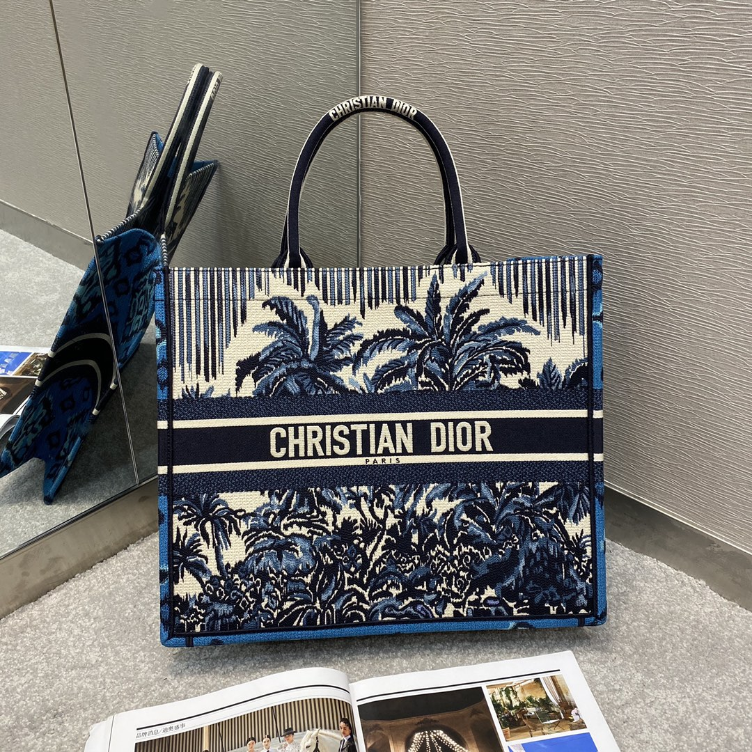 Replica Dior Book Tote Large Blue Dior Palms Embroidery