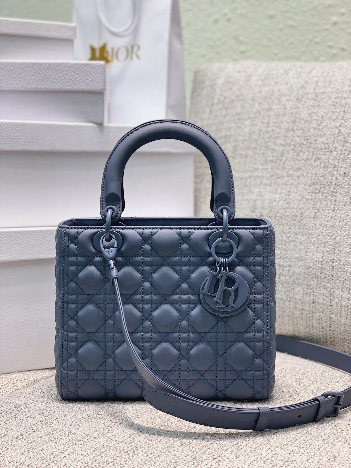 Replica Dior Medium Lady Dior Bag Blue Ultramatte Cannage Calfskin