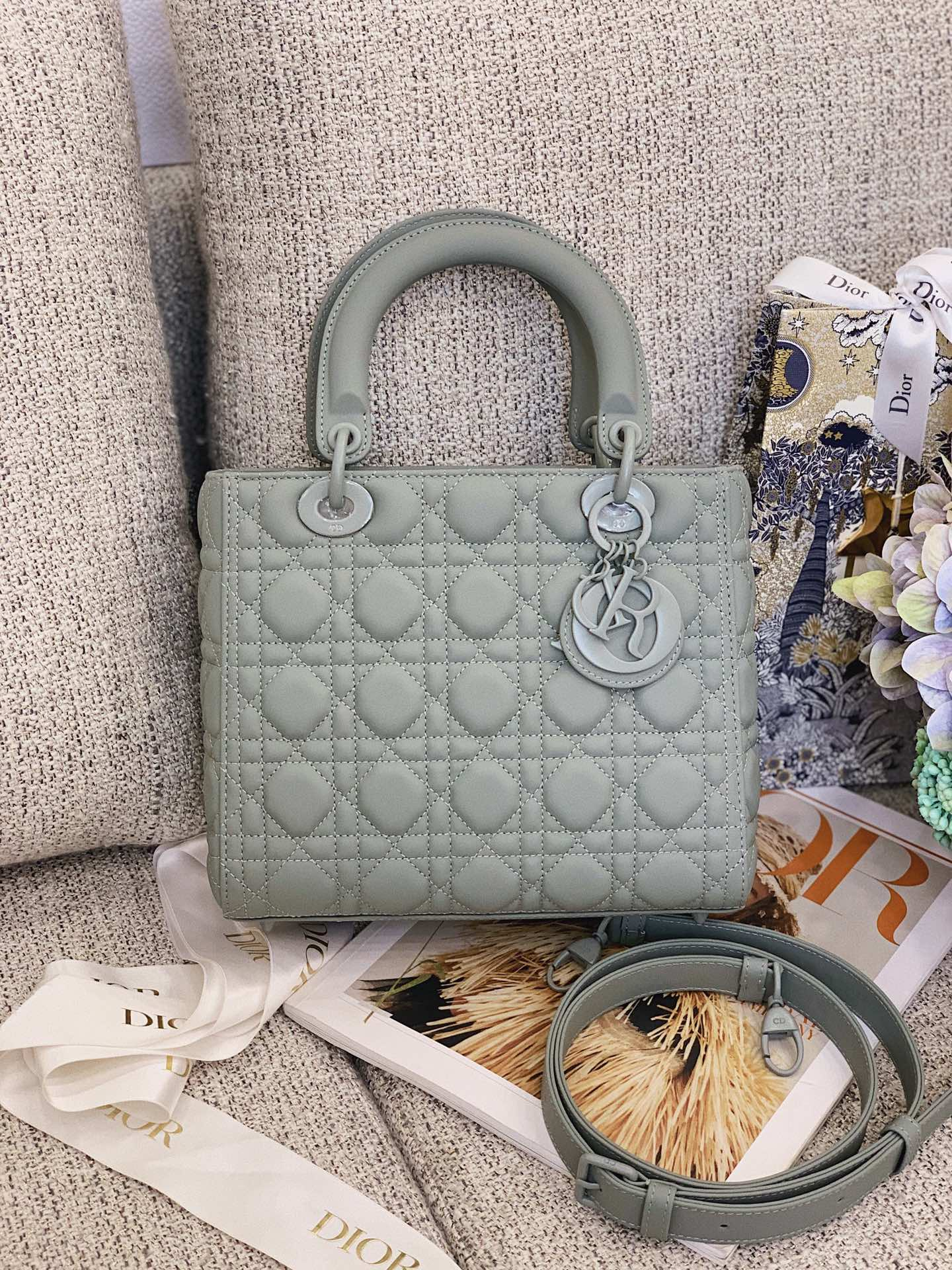 Replica Dior Medium Lady Dior Bag Green Ultramatte Cannage Calfskin