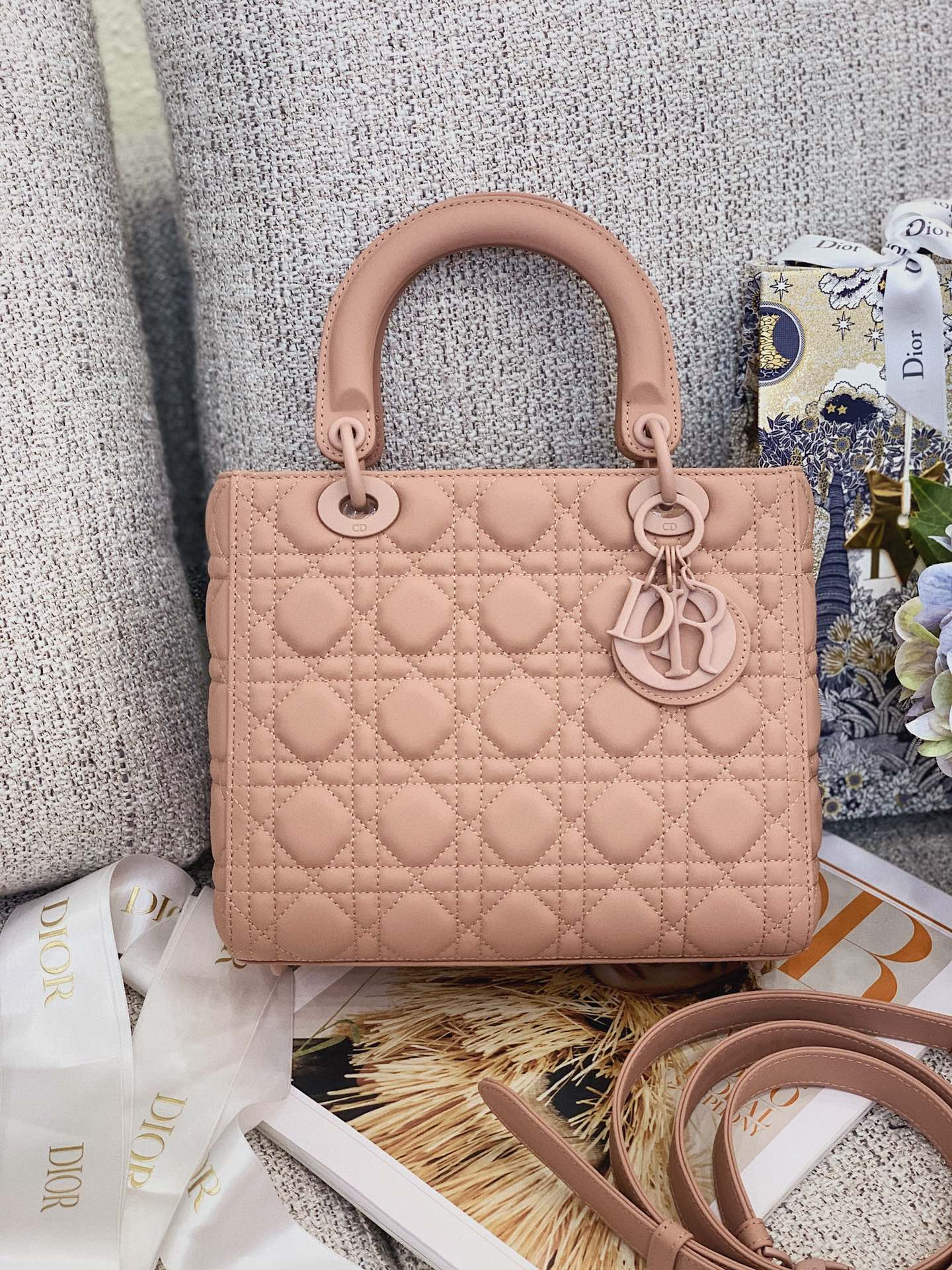 Replica Dior Medium Lady Dior Bag Pink Ultramatte Cannage Calfskin