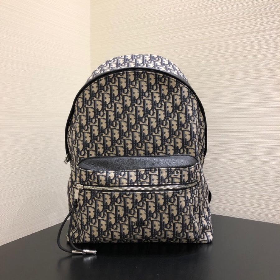 Replica Dior Oblique Backpack Canvas and Black Grained Calfskin with Signature Dior Detail