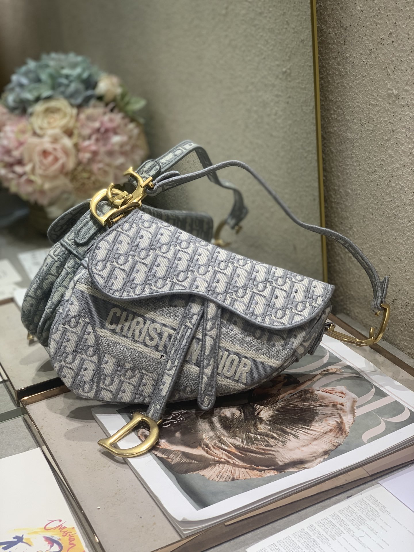 Replica Dior Soft Saddle Bag Gray Toile de Jouy Embroidery