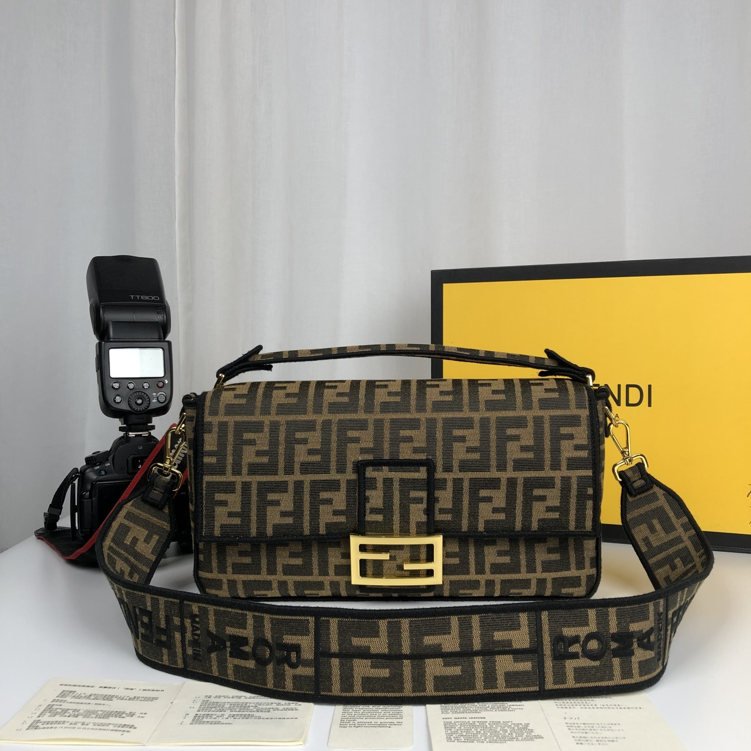Replica Fendi Baguette Brown Fabric Large Bag with Flap and FF Fastening with Magnetic Clasp
