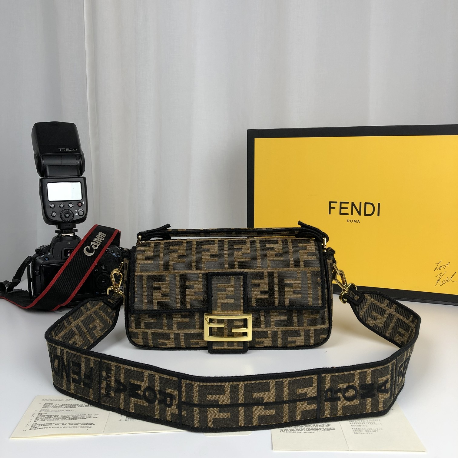 Replica Fendi Baguette Brown Fabric Medium Bag with Flap and FF Fastening with Magnetic Clasp