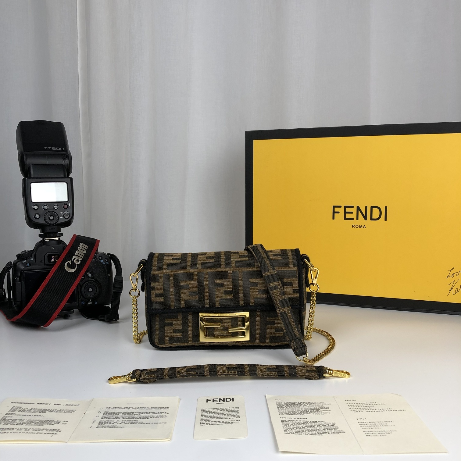 Replica Fendi Baguette Brown Fabric Small Bag with Flap and FF Fastening with Magnetic Clasp