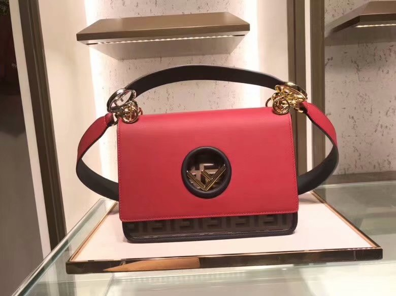 Replica Fendi KAN I LOGO Women Red Leather Bag