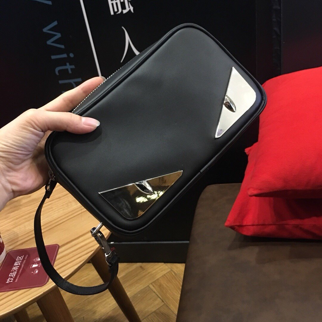 Replica Fendi Mens Pouch Black With Bugs Eyes 001