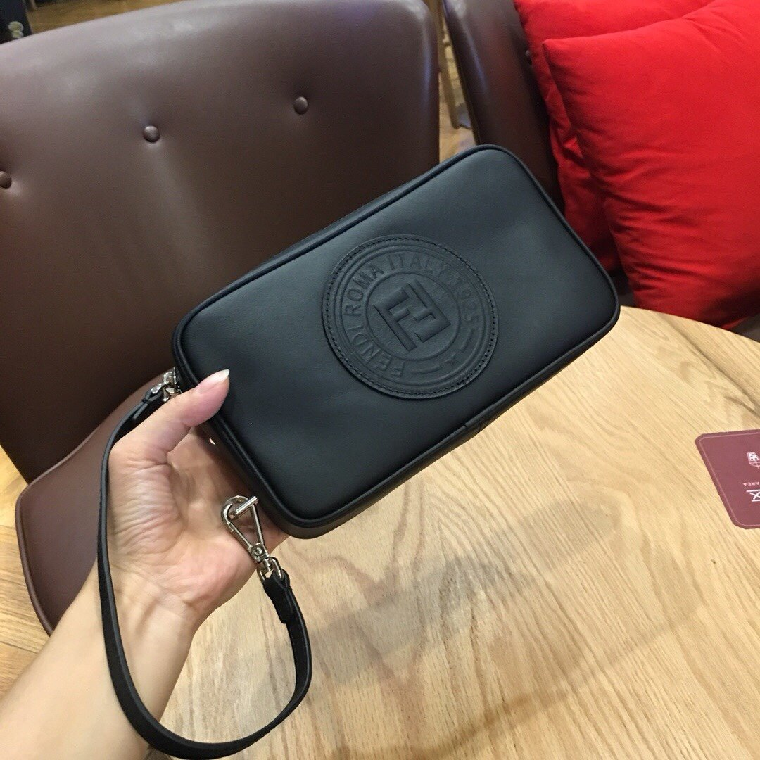 Replica Fendi Mens Pouch Black With Bugs Eyes 002