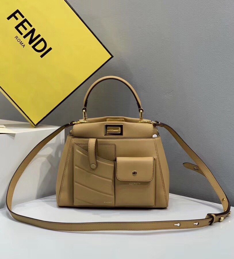 Replica Fendi Peekaboo Iconic Mini Coffee Leather Bag