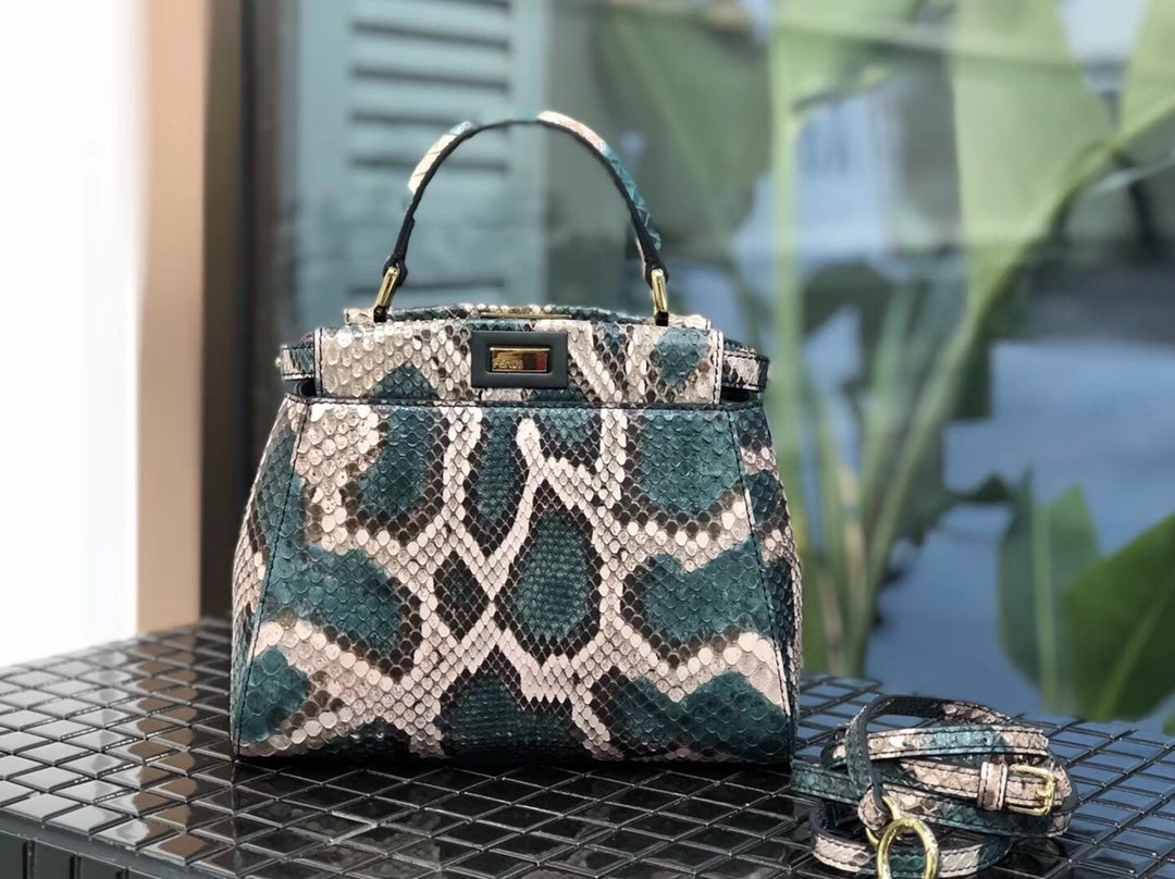 Replica Fendi Peekaboo Iconic Mini Python handbag 001