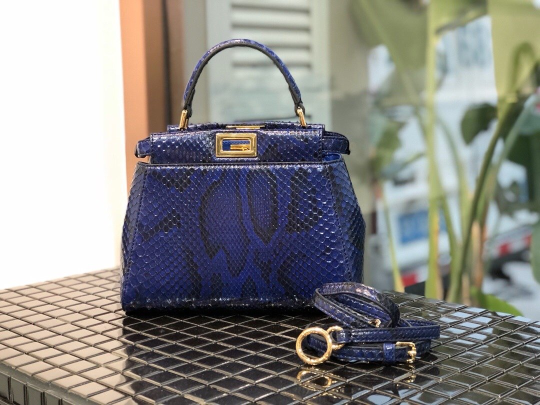 Replica Fendi Peekaboo Iconic Mini Python handbag 003