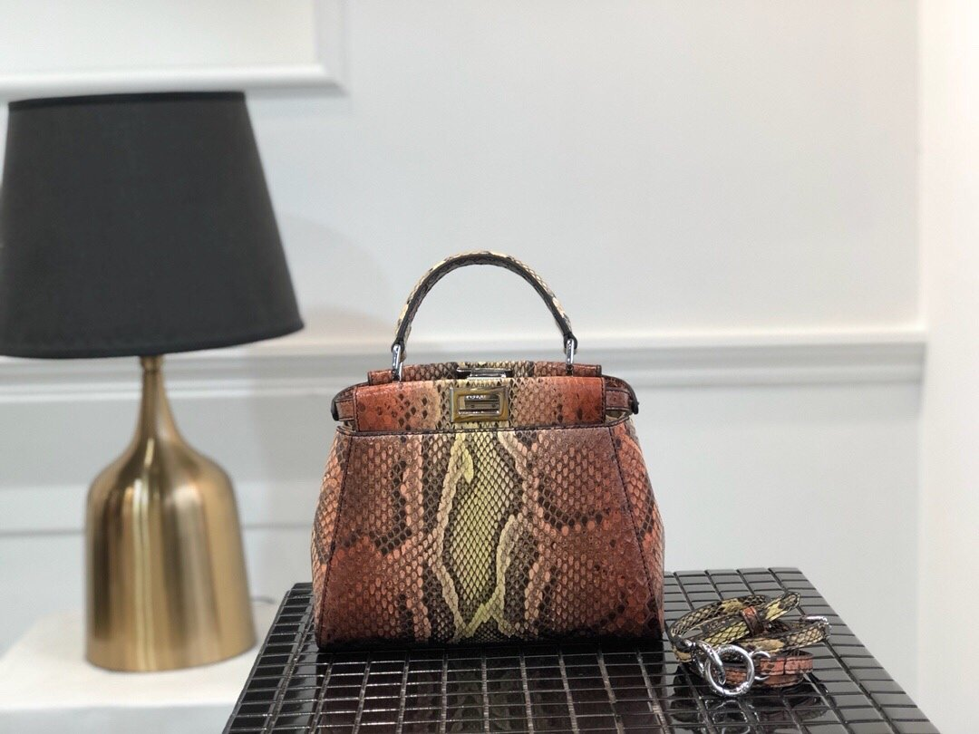 Replica Fendi Peekaboo Iconic Mini Python handbag 005
