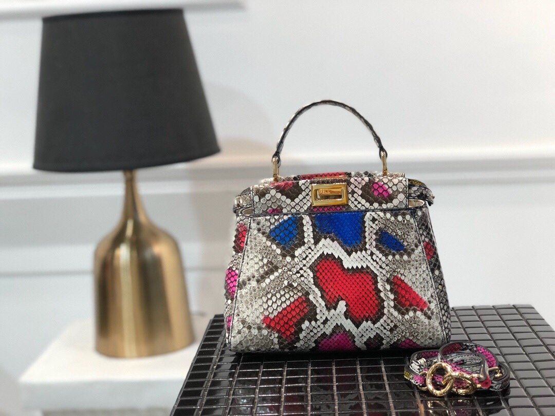 Replica Fendi Peekaboo Iconic Mini Python handbag 006