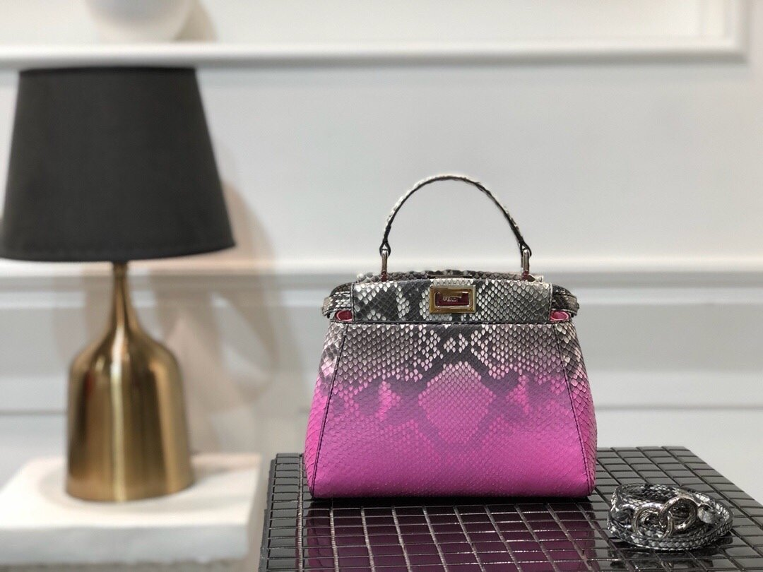 Replica Fendi Peekaboo Iconic Mini Python handbag 007