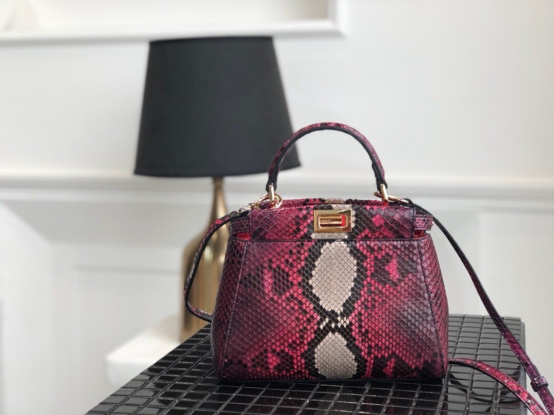 Replica Fendi Peekaboo Iconic Mini Red Python handbag