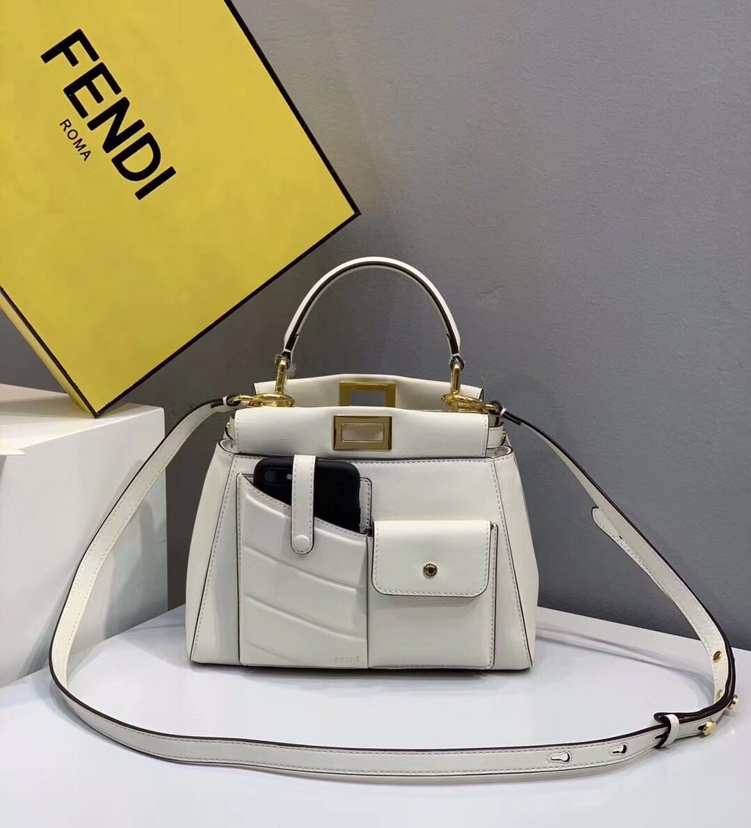 Replica Fendi Peekaboo Iconic Mini White Leather Bag