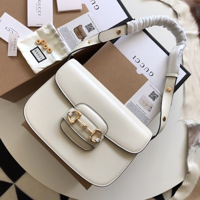 Replica Gucci 1955 Horsebit Shoulder Bag White Textured Leather with a Vintage Effect 602204