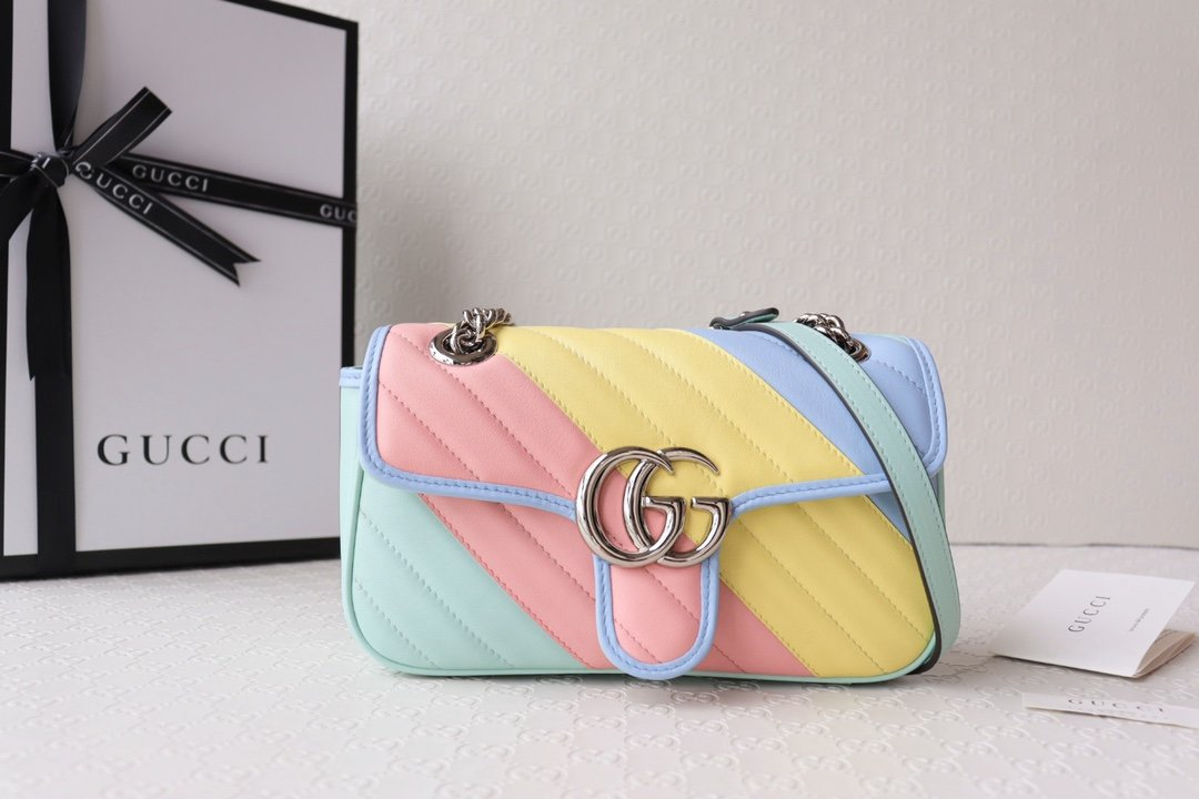 Replica Gucci 446744 Marmont Matelasse Mini Bag Multicolored Pastel Diagonal Matelasse Leather