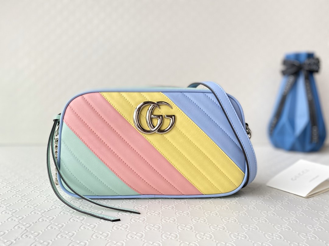 Replica Gucci 447632 GG Marmont Small Shoulder Bag Multicolored Pastel Diagonal Matelasse Leather