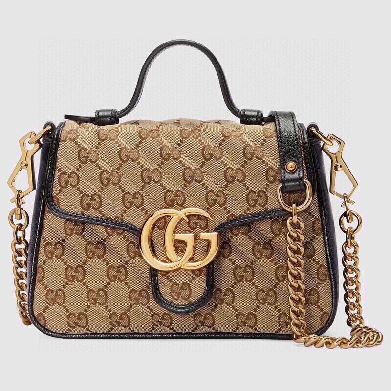 Replica Gucci 498110 GG Marmont Top Handle Bag Black Leather Trim